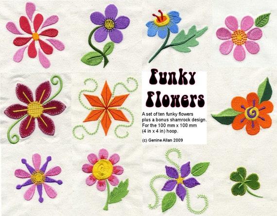 Funky Flowers Embroidery Design Set Machine By Genniewren