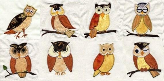 Applique Owls  Embroidery Design Set - Machine Embroidery Designs