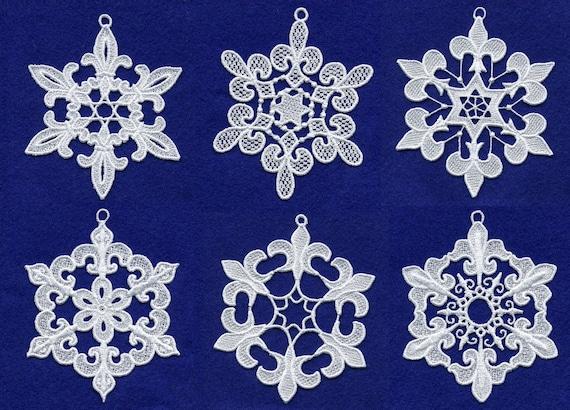 Fleur De Lis Lace Snowflakes Embroidery Design Set - Machine Embroidery Designs