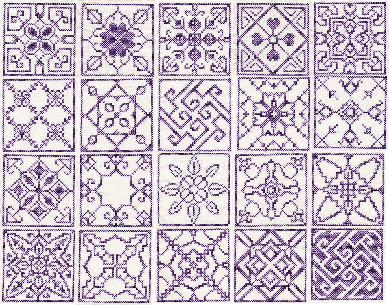 Set Of 20 Cross Stitch Squares Machine Embroidery Design