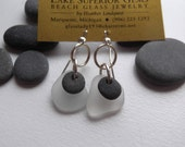 Lake Superior Beach Glass and BASALT Zen Stone Earrings Handcrafted