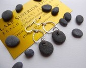 Authentic Lake Superior BASALT Zen Stone Earrings Handcrafted Dangle w PURE Sterling Hammered Links