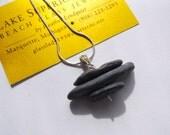 Cairn Stacked Lake Superior Black Rocks Basalt Zen Stone Necklace Pendant
