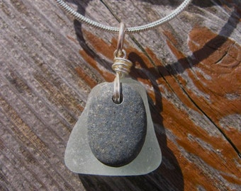 Sweet Lake Superior Beach Glass and Zen Stone Pendant Necklace