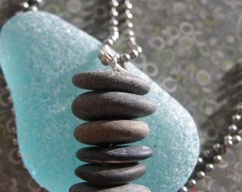 Stacked Lake Superior Zen Stone Necklace Pendant on Ball Chain