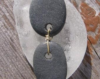 Funky Linked Lake Superior Basalt Zen Stone Pendant Necklace