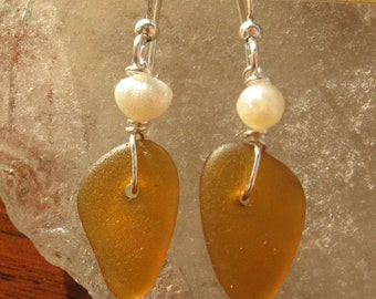 Dangly Amber Lake Superior Beach Glass Earrings with Pearl