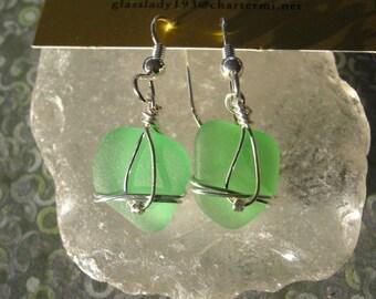 Sweet Lake Superior Sea Foam Beach Glass Earrings