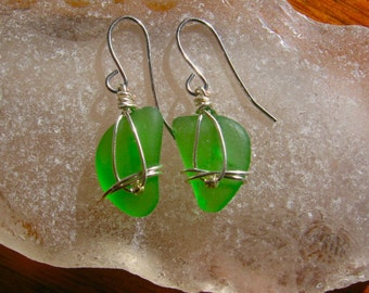 Sweet Green Lake Superior Beach Glass Earrings