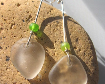 Dangly and Unique Frosty White Drop Lake Superior Beach Glass Earrings