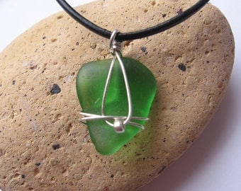 Sweet and Simple Vibrant Green Lake Superior Beach Glass Pendant Necklace