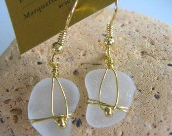 Fresh Frosty White Lake Superior Beach Glass Earrings