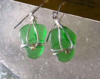 Sweet Green Lake Superior Beach Glass Earrings