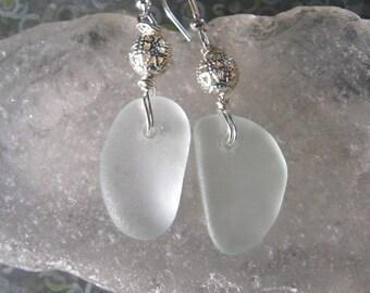 Pretty Icy White Lake Superior Beach Glass Earrings w/Silver Filigree Bead