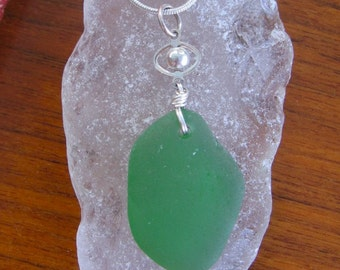 Fresh Green Real Lake Superior Beach Glass Pendant Necklace