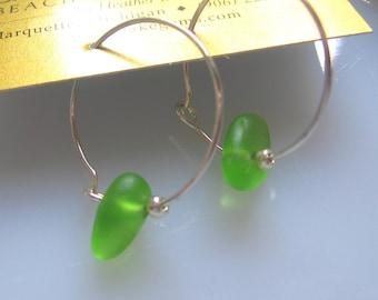 Vibrant Limey Lake Superior Beach Glass Hoop Earrings Sterling