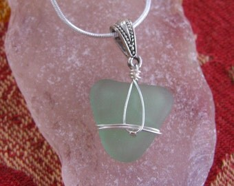 Deep Sea Foam Heart Real Lake Superior Beach Glass Pendant Necklace