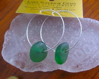 Wonderful GREEN  Lake Superior Beach Glass Hoop Earrings