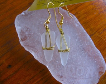 Wonderful Icy Frost White Lake Superior Beach Glass Earrings