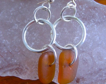 Rare Orange Amber Lake Superior Beach Glass Dangle Earrings