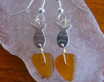 Dangly Rare ORange Amber Lake Superior Beach Glass Earrings w/ Fish Bead