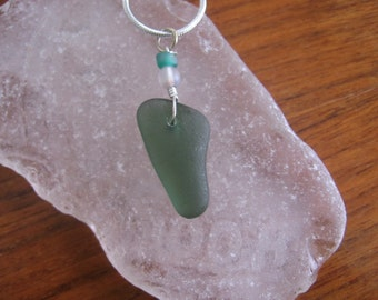 Lovely Mossy Teal Real Lake Superior Beach Glass Pendant Necklace