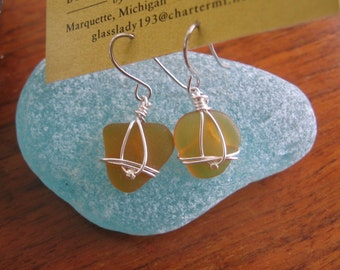 Lovely Lake Superior Amber beach glass earrings