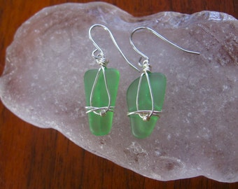 Authentic Fresh Spring Green Lake Superior Beach Glass Earrings