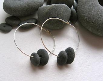Stacked Lake Superior Zen Stone Hoop Earrings