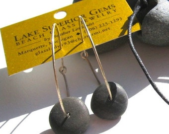 Smooth Lake Superior Zen Stone Earrings