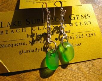 Fresh Green Chain Dangle Real Lake Superior Beach Glass Earrings