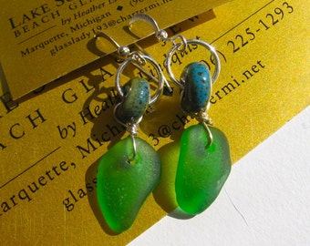 Vibrant Spring Green Lake Superior Beach Glass Dangle Earrings