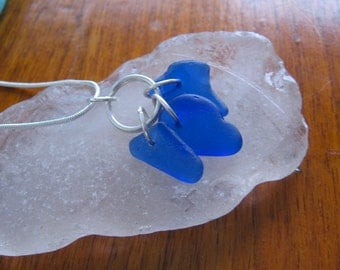 AUTHENTIC Cobalt Blue Lake Superior Beach Glass Necklace w tulip bead accent