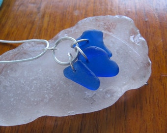 Gorgeous Cobalt Blue Trio Real Lake Superior Beach Glass Pendant Necklace