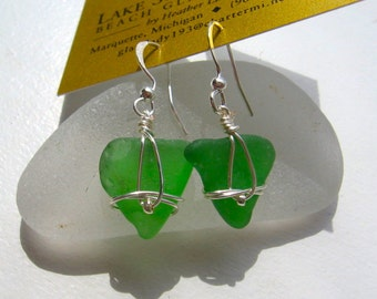 Authentic Fresh Spring Green Lake Superior Beach Glass Earrings