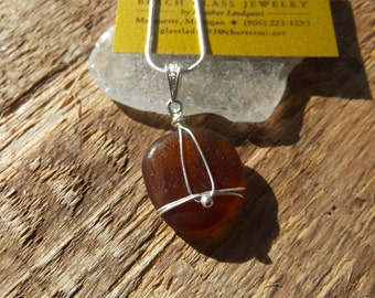 Simple Elegant Amber Orange Wrapped Lake Superior Beach Glass Heart Pendant Necklace
