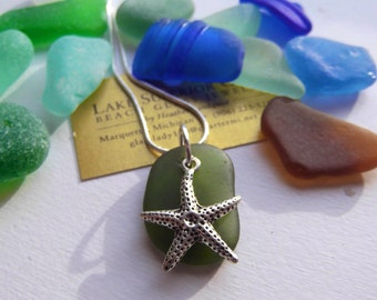 Simple Moss Green Lake Superior Beach Glass Pendant Necklace Starfish Charm