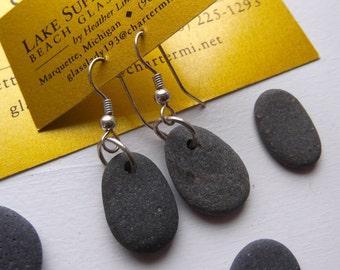 Lake Superior BASALT Zen Stone Earrings Handcrafted Silver Link Dangle