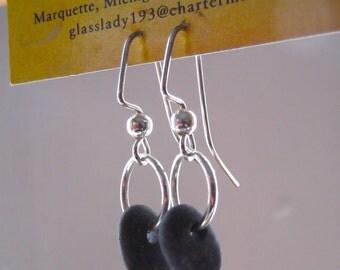 Lake Superior BASALT Zen Stone Earrings Handcrafted Dangle