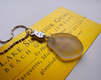 Simple Elegant AUTHENTIC Lake Superior Beach Glass Frosty White Pendant Necklace w Sterling Fish Bead