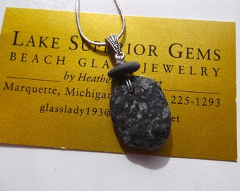 One of a Kind Stacked Lake Superior Basalt Zen Stone Pendant Necklace w Unusual Coloring