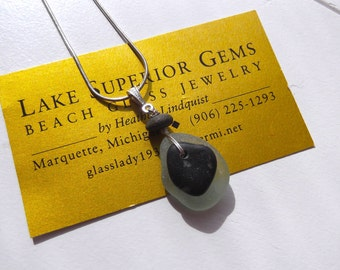 Sweet Layered Lake Superior Beach Glass and Zen Stone Pendant Necklace