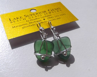 Authentic and RARE TEAL Lake Superior Beach Glass Sterling Wrapped Earrings