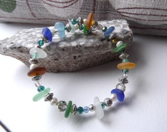 Chunky Multicolor LAKE SUPERIOR Beach Glass Bracelet with Silver and Glass Beads Memory Wire Adustible