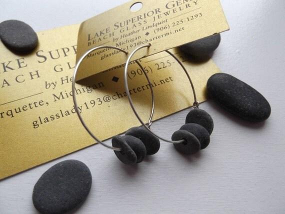 Multi Strung Trio Lake Superior Basalt Zen Stone Hoop Earrings