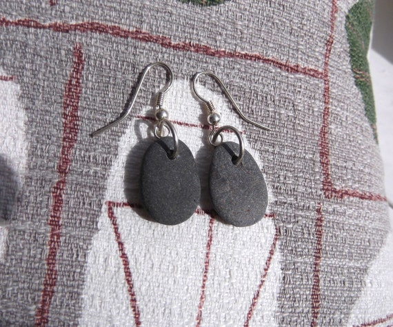 Lake Superior BASALT Zen Stone Earrings Handcrafted Silver Link Dangle
