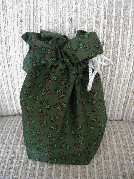 Knitting Bag, Tote, Sock Bag, Yarn Bag, Drawstring Bag, Crochet, Crafts, Mini Tote Bag, Pockets, Green Cottons