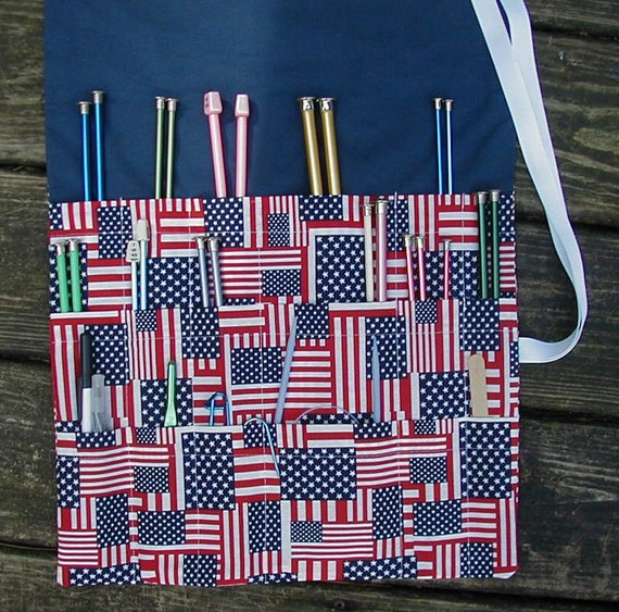 USA Knitting Needle Roll Up Case Organizer 18 Pockets, Art brush roll, All cotton, Shipping incl