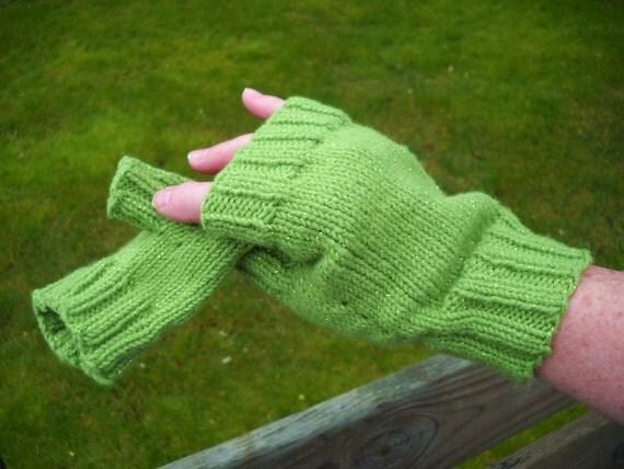 Fingerless Gloves,Thumb, Handknit, Lime Green Shimmer yarn w metallic thread, One Size, Seamless, Vegan SHIPS FREE
