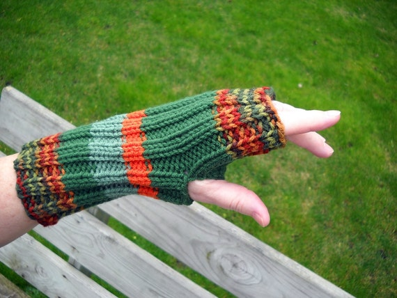 Handknit fingerless gloves, striped shades of Earth tones, seamless, vegan, one size, unisex, gloves without fingers